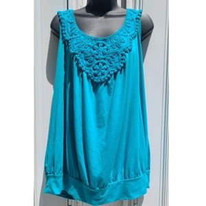 🌻Lane Bryant Bright Blue Crochet Tank Top